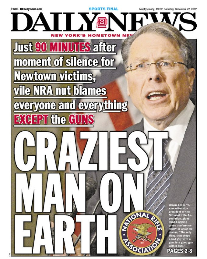 NRA GUN NUT MAKES DAILY NEWS COVER HAH