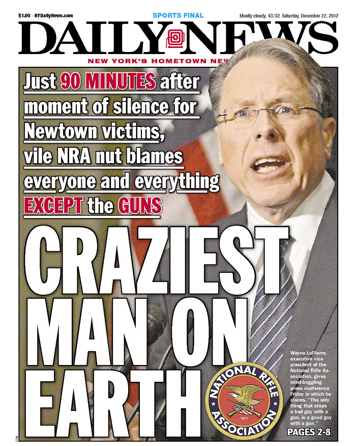 NRA GUN NUT MAKES DAILY NEWS COVER HAH