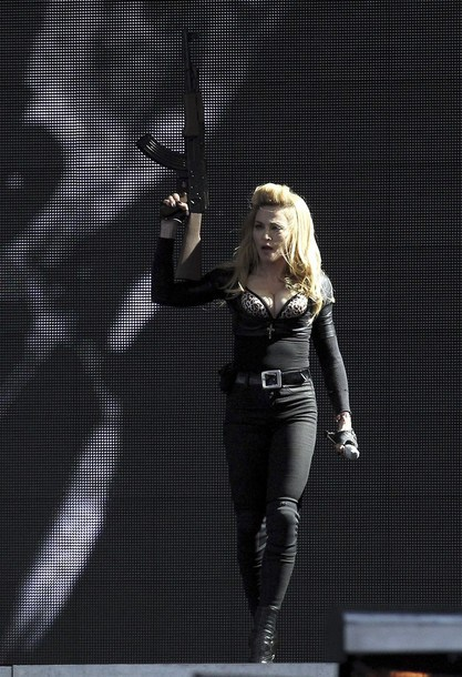 Madonna performs on stage in Hyde Park, London, as part of her MDNA concert tour, Tuesday July 17, 2012. (AP Photo / Sean Dempsey, PA) UNITED KINGDOM OUT - NO SALES - NO ARCHIVES